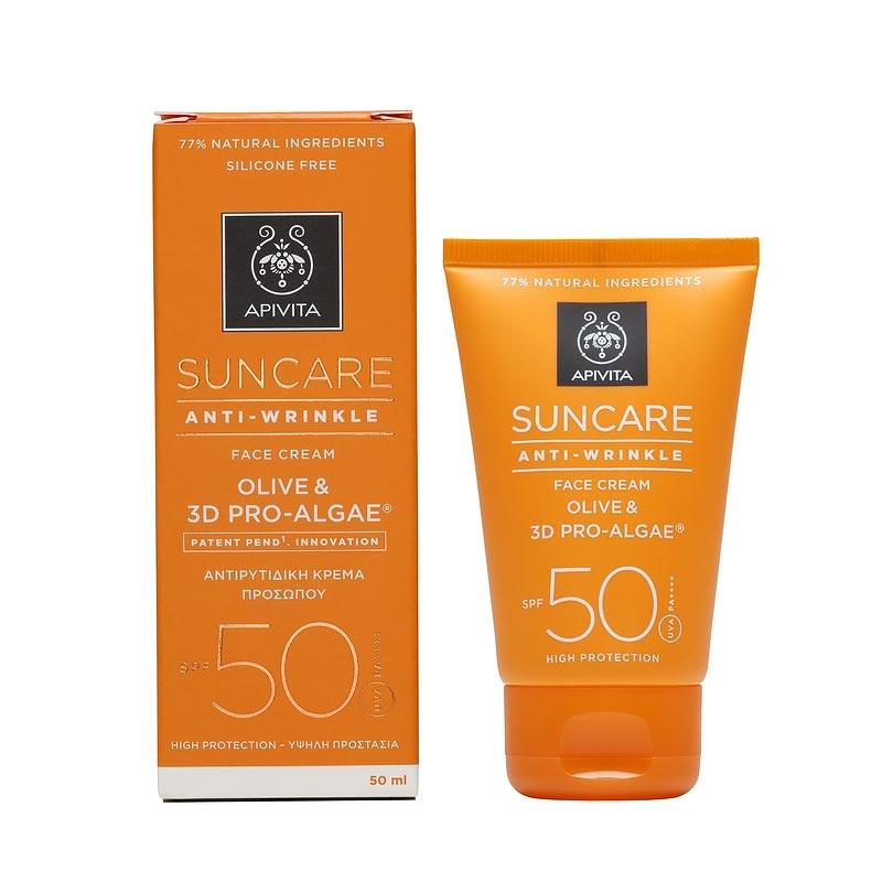Apivita Suncare Anti-Wrinkle SPF50/PA++++  Αντιρυτιδική Αντηλιακή Κρέμα Προσώπου με Ελιά & 3D Pro - Algae 50ml
