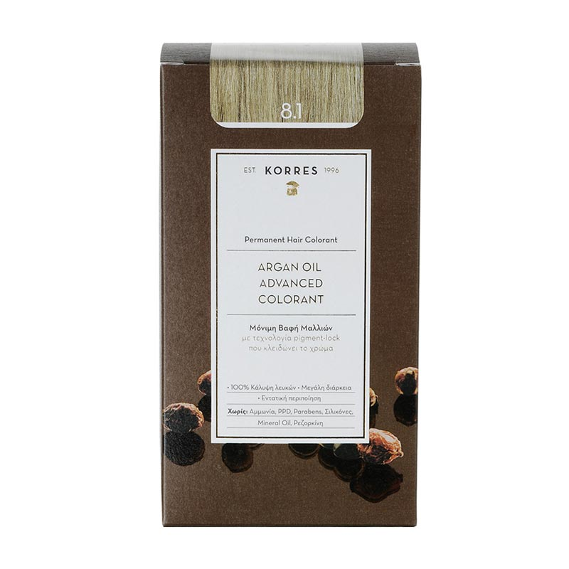 Korres Argan Oil Advanced Colorant Μόνιμη Βαφή Μαλλιών 8.1 Ξανθό Ανοιχτό Σαντρέ - 50ml