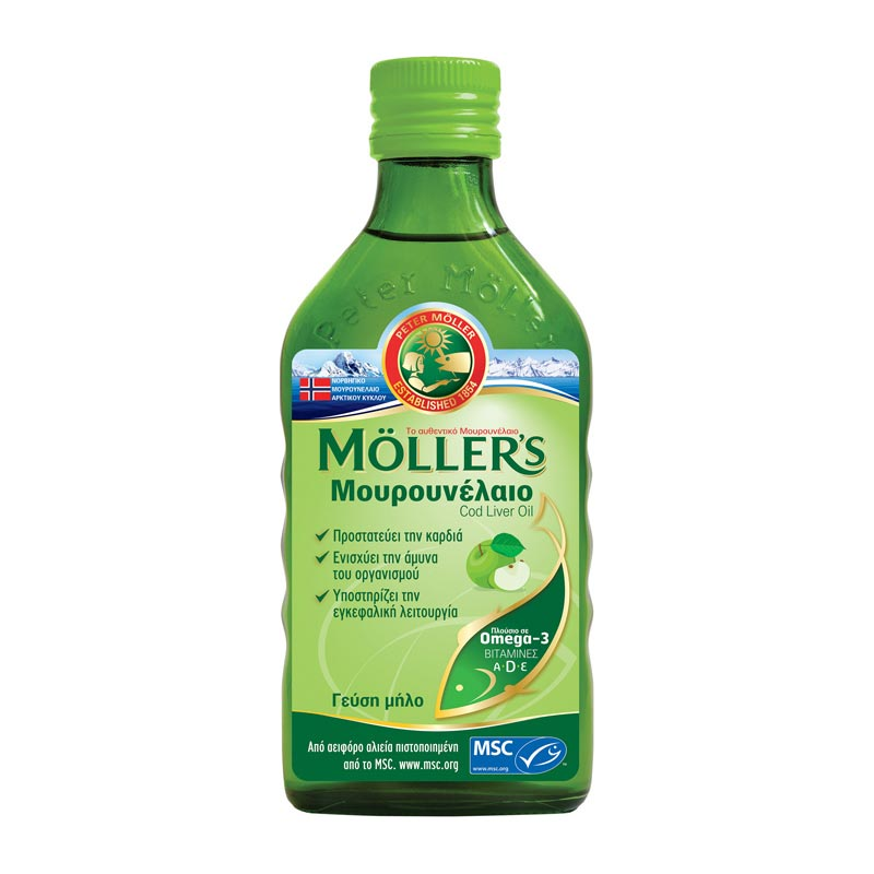 Mollers Μουρουνέλαιο Cod Liver Oil Apple Flavour με ευχάριστη γεύση μήλο 250ml