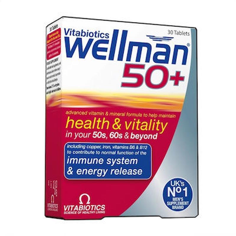 Vitabiotics Wellman 50+ Πολυβιταμίνη για Άνδρες άνω των 50 ετών 30 ταμπλέτες