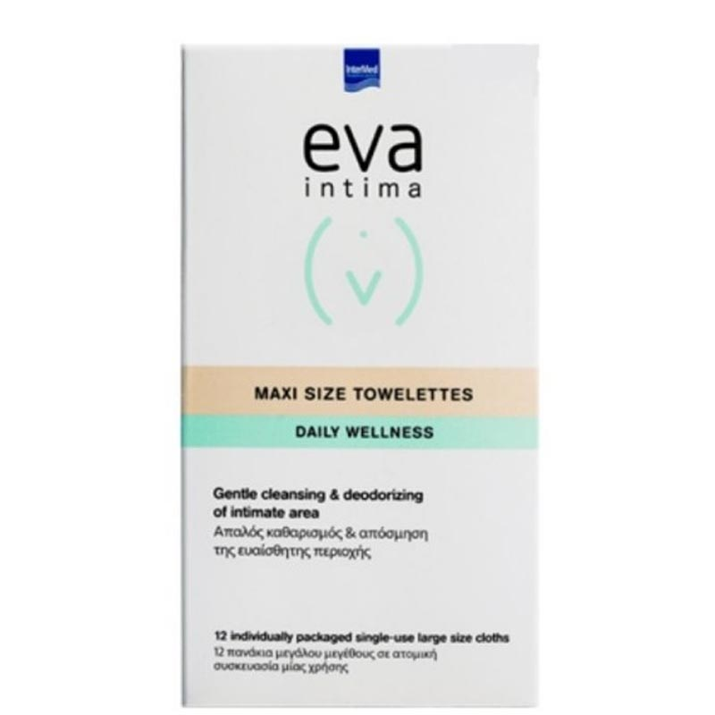 Intermed Eva Intima Maxi Size Towelettes Individually Packed Άμεσος Καθαρισμός & Απόσμηση Της Ευαίσθητης Περιοχής 12 πανάκια