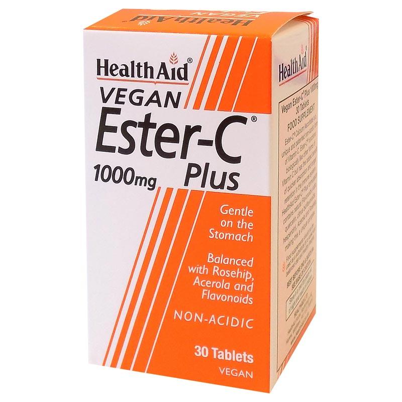 Health Aid Ester C Συμπλήρωμα Διατροφής για Άμεση Απορρόφηση & Ενεργοποίηση της Βιταμίνης C 1000mg 30 Ταμπλέτες
