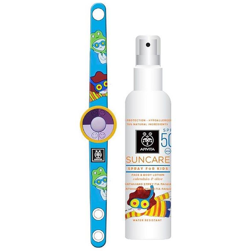 Apivita Suncare Kids Protection Face & Body Spray SPF50 aloe & calendoula 150ml + ΔΩΡΟ Kids UV Bracelet