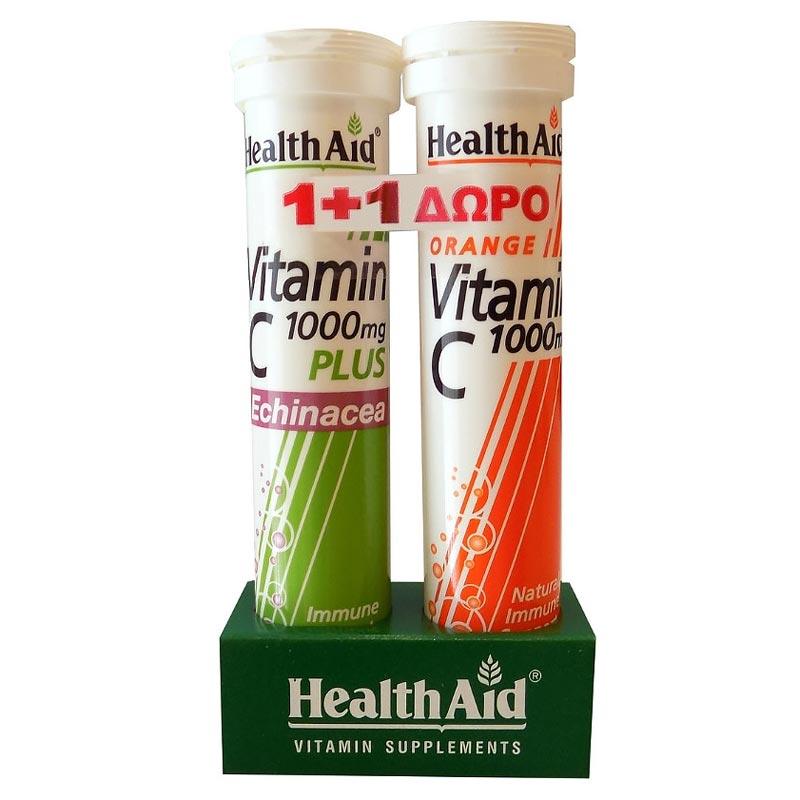 1+1 ΔΩΡΟ Health Aid Vitamin C 1000mg Plus Echinacea 20 αναβράζοντα δισκία & Vitamin C 1000mg Orange 20 αναβράζοντα δισκία