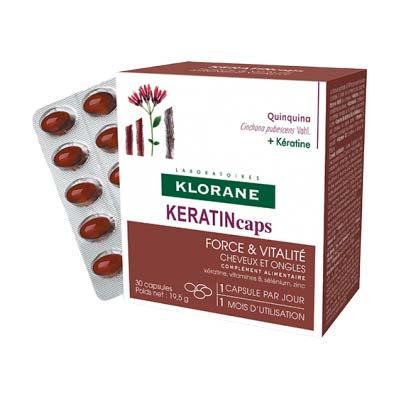 Klorane Quinine KERATINcaps Συμπλήρωμα Διατροφής για Δυνατά Μαλλιά & Νύχια 30 caps