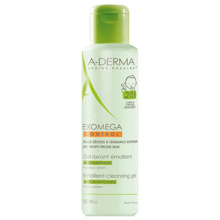Aderma Exomega Control Gel Lavant Emollient 2 en 1 Μαλακτικό Τζέλ Καθαρισμού για Ατοπικό, Πολύ Ξηρό Δέρμα για Σώμα & Μαλλιά 500ml (Διάφανο)
