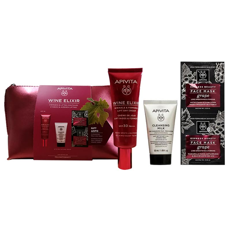 Apivita PROMO PACK Wine Elixir Αντιρυτιδική Κρέμα για Σύσφιξη & Lifting SPF30 Πλούσιας Υφής 40ml & ΔΩΡΑ 3 in 1 Face & Eyes Cleansing Milk 50ml & Express Beauty Face Mask Grape 2x8ml & Τσαντάκι.