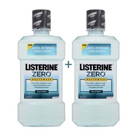 1+1 ΔΩΡΟ  Listerine Zero Στοματικό διάλυμα 2 x 500ml