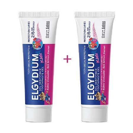 Elgydium 2x Kids Red Berries Gel (2-6 ετών) 50+50ml