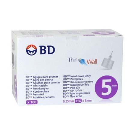 BD Thin Wall Αποστειρωμένες βελόνες ινσουλίνης 5mm x 0.25mm (31G) 100τμχ