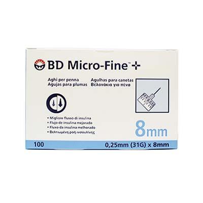 BD Micro-Fine Αποστειρωμένες βελόνες ινσουλίνης 8mm x 0.25mm (31G) 100τμχ