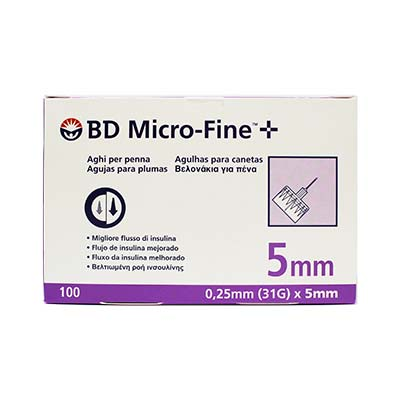 BD Micro-Fine Αποστειρωμένες βελόνες ινσουλίνης 5mm x 0.25mm (31G) 100τμχ