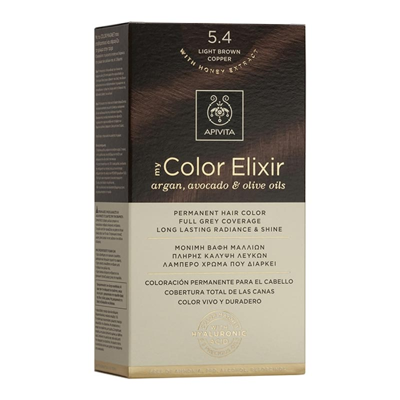 Apivita - My Color Elixir Μόνιμη Βαφή Μαλλιών Νο 5.4 - Καστανό Ανοιχτό Χάλκινο