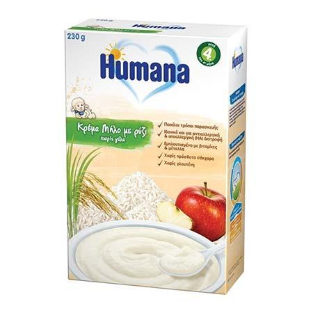 Humana Κρέμα Μήλο με Ρύζι Χωρίς Γάλα μετά τον 4ο μήνα 230g
