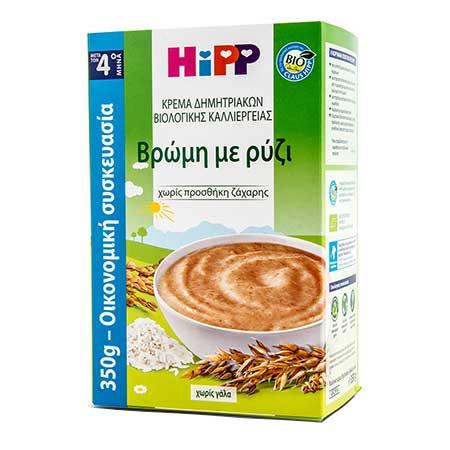 Hipp Κρέμα Δημητριακών βιολογικής καλλιέργειας Βρώμη με Ρύζι, από τον 4ο μήνα 350gr