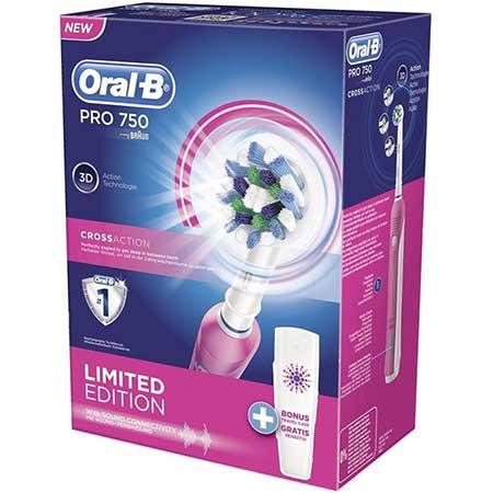 Oral-B Pro 750 Cross Action Limited Edition Pink Ηλεκτρική Οδοντόβουρτσα + Δώρο Θήκη ταξιδίου