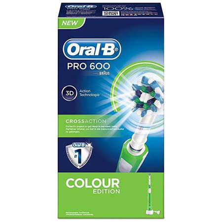 Oral-B Pro 600 Cross Action Colour Edition Green Ηλεκτρική Οδοντόβουρτσα