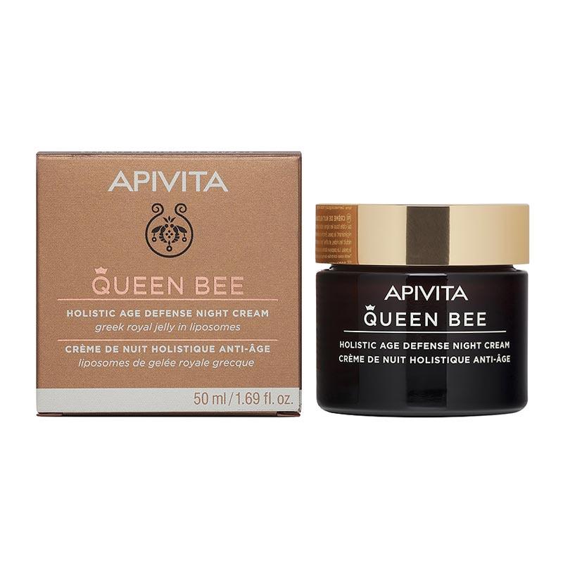 Apivita Queen Bee Συσφιγκτική & επανορθωτική κρέμα νύχτας με Ελληνικό Βασιλικό Πολτό σε Λιποσώματα 50ml