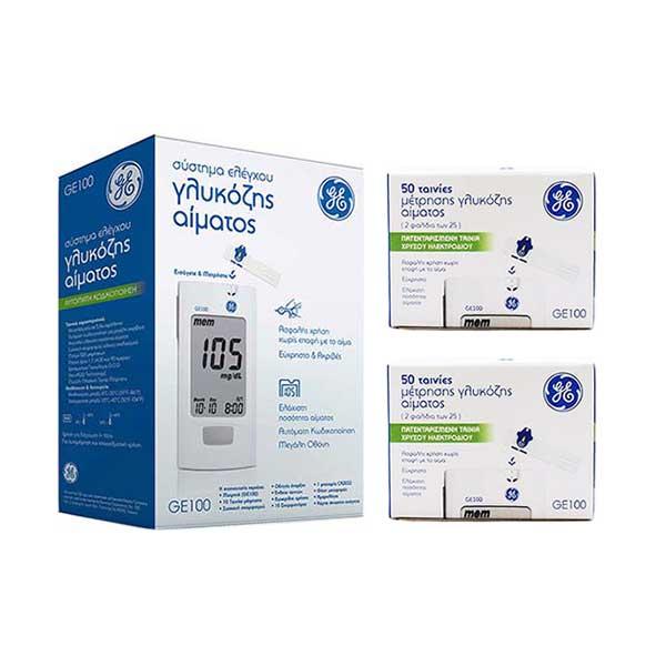 General Electric PROMO: Σύστημα ελέγχου γλυκόζης αίματος GE100 + Ταινίες μέτρησης 2x50 τεμ.