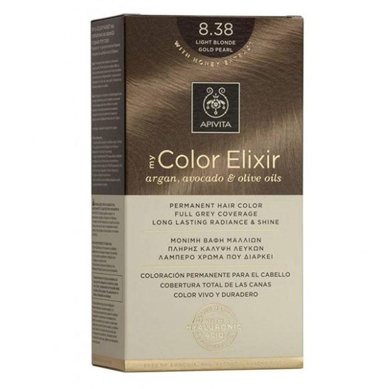 Apivita My Color Elixir Βαφή Μαλλιών 8.38 Ξανθό Ανοιχτό Μελί Περλέ