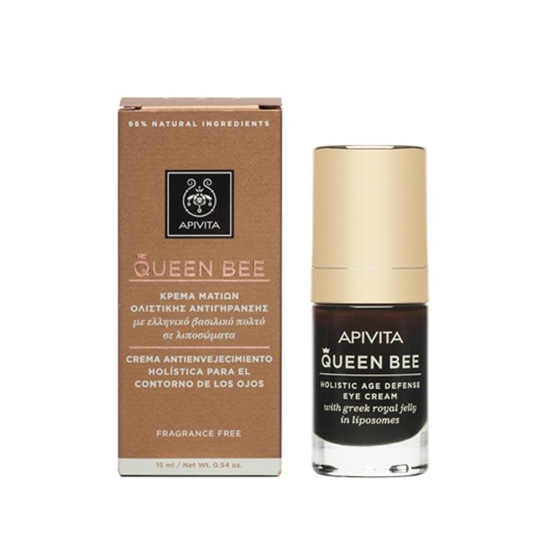 Apivita Queen Bee Αντιρυτιδική & επανορθωτική κρέμα ματιών με Ελληνικό Βασιλικό Πολτό Σε Λιποσώματα 15ml