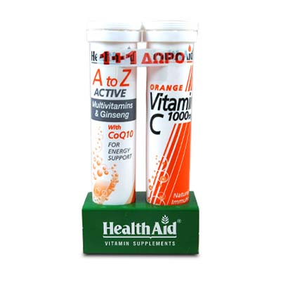 Health Aid A to Z ACTIVE Multivitamins & Ginseng με CoQ10, 20 αναβρ. δισκία