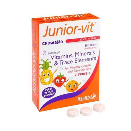Health Aid Junior-Vit Vitamins & Minerals  με γεύση Tutti Frutti, 30 μασώμενες ταμπλέτες