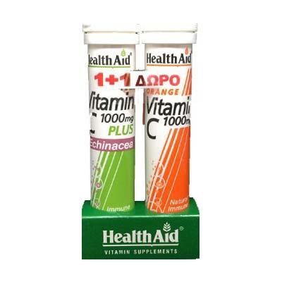 Health Aid Βιταμινη C 1000mg με Echinacea (γεύση Λεμόνι), 20 αναβρ. δισκία