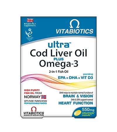 Vitabiotics Cod Liver Oil plus Omega-3, 60 caps