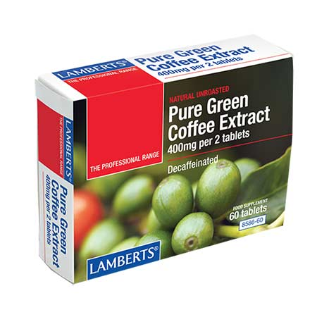 Lamberts Pure Green Coffee Extract 400mg per 2 tabs - Decaffeinated- 60 tabs