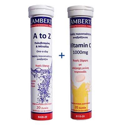 Lamberts 1+1: A to Z Multivitamin + Vitamin C 1000mg 20+20 effr.tabs