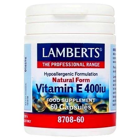 Lamberts Vitamin E 400iu Natural Form (As D-Alpha Tocopherol) 60 κάψουλες