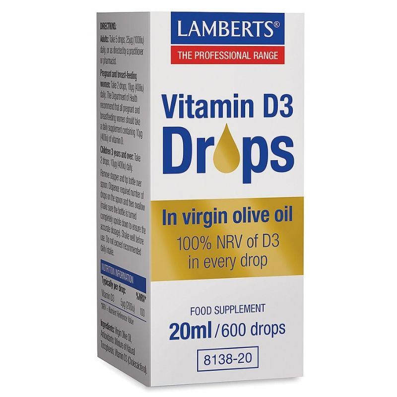 LAMBERTS Vitamin D3 Drops 20ml - 600drops