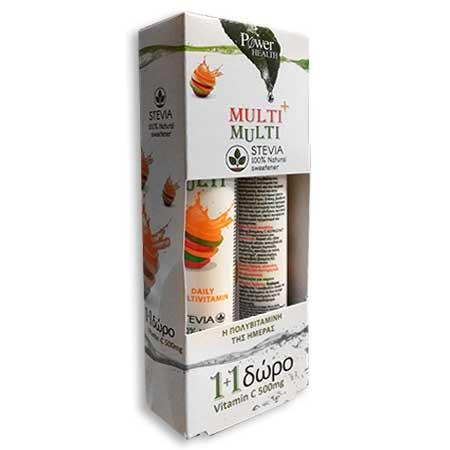 Power Health Multi + Multi με Στέβια + Vitamin C 500mg Πορτοκάλι 24 + 20tabs