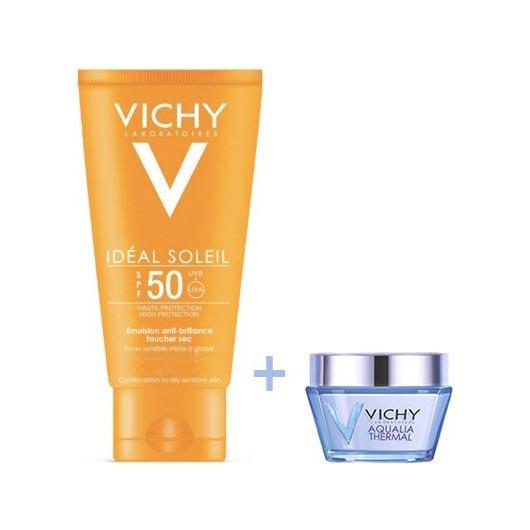 Vichy Ideal Soleil Aντηλιακή Κρέμα Προσώπου SPF50 Βελούδινο Αποτέλεσμα 50ml + ΔΩΡΟ Aqualia Thermal 15ml
