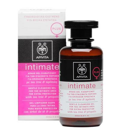 Apivita Intimate PLUS - Απαλό gel καθαρισμού για την ευαίσθητη περιοχή   για επιπλέον προστασία με tea tree & πρόπολη 200ml
