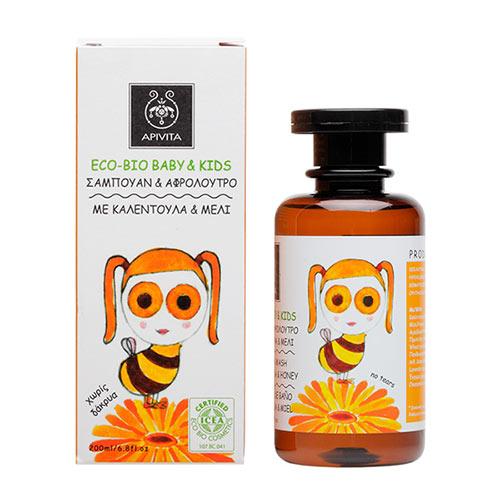 Apivita ECO-BIO BABY & KIDS Σαμπουάν & Αφρόλουτρο με καλέντουλα & μέλι 200ml
