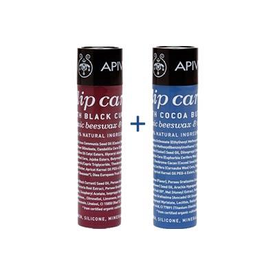 Apivita Lip Care Promo Set: Black Currant + Cocoa Butter SPF20, με κερί μελισσών & λάδι ελιάς 4.4 + 4.4g