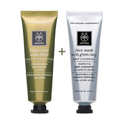 Apivita Face Promo Set: Scrub βαθιάς απολέπισης με ελιά 50ml + Μάσκα για βαθύ καθαρισμό με πράσινη άργιλο 50ml
