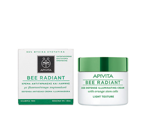 Apivita Bee Radiant κρέμα αντιγήρανσης ελαφριάς υφής με βλαστοκύτταρα πορτοκαλιού 50ml