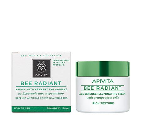 Apivita Bee Radiant κρέμα αντιγήρανσης πλούσιας υφής με βλαστοκύτταρα πορτοκαλιού 50ml