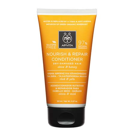 Apivita Nourish & Repair Contitioner Kρέμα θρέψης & επανόρθωσης για ξηρά-ταλαιπωρημένα μαλλιά με ελιά & μέλι 150ml