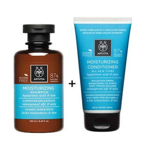 Apivita Hair Set Ενυδάτωσης Υαλουρονικό Οξύ & Αλόη - Σαμπουάν 250ml + Κρέμα μαλλιών 150ml