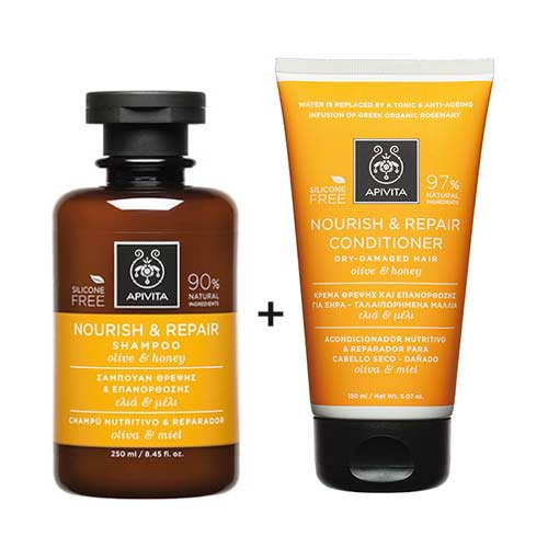Apivita Hair Set Θρέψης & Επανόρθωσης Ελιά & Μέλι - Σαμπουάν 250ml + Κρέμα μαλλιών 150ml