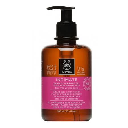 Apivita Intimate PLUS - Απαλό gel καθαρισμού για την ευαίσθητη περιοχή για extra προστασία με tea tree & πρόπολη 300ml