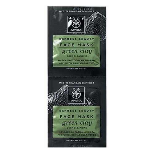 Apivita Express Beauty Μάσκα για βαθύ καθαρισμό με πράσινη άργιλο 2x8ml