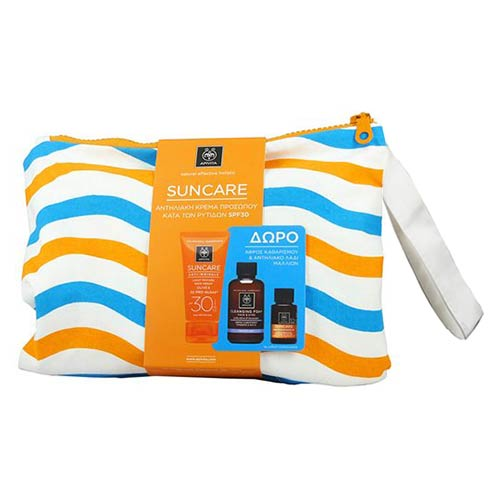Apivita Suncare SET: Anti-Wrinkle Face Cream SPF30 + ΔΩΡΟ Cleansing Foam Olive-Lavender 75ml & Suncare Hair Oil 20ml