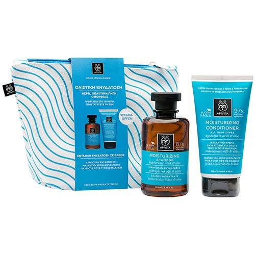 Apivita BEEAUTY Set Ολιστικής Ενυδάτωσης Μαλλιών Moisturizing Shampoo 250ml + Conditioner 150ml σε Νεσεσέρ