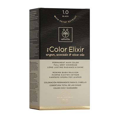 Apivita My Color Elixir Αrgan, Avocado & Olive Oils Βαφή Μαλλιών 1.0 Μαύρο