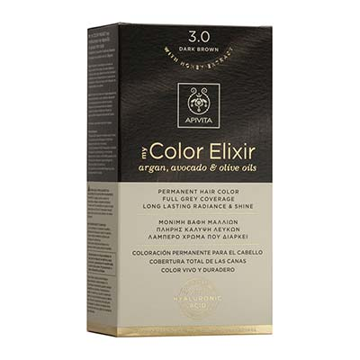 Apivita My Color Elixir Αrgan, Avocado & Olive Oils Βαφή Μαλλιών 3.0 Καστανό Σκούρο